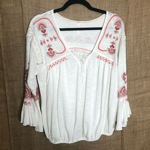 Free People Blouse M White Boho Top Embroidery